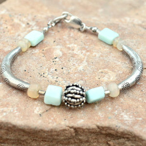 Peruvian Opal Welo Sterling Silver Bracelet Tribe